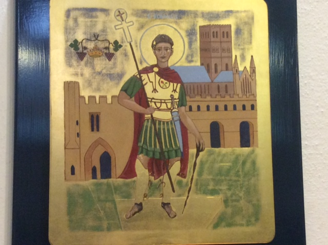 Saint Alban, one of the most prominent early British Christians who was martyred by the Romans at what is now the beautiful city of St Albans.  The Abbey Cathedral there is incredibly beautiful.