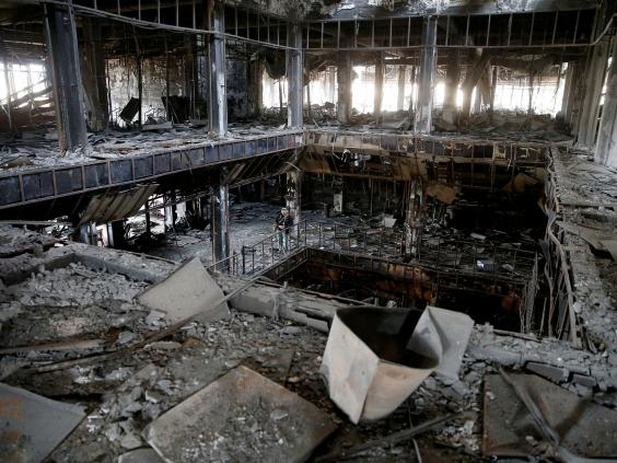The destroyed library in Mosul.