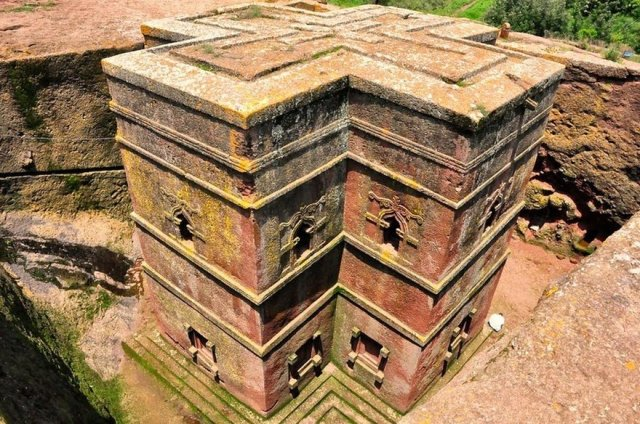 One of the famous rock churches of King Lalibela of Ethiopia