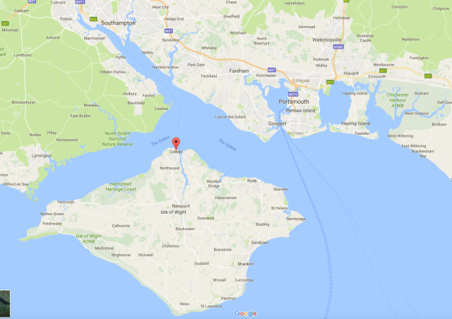 Map of the Isle of Wight and Solent area.