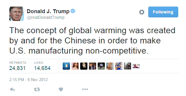 Unlike Mr. Trump, I was aware of global warming by about the age of 8 in the early 1980's... long before China became the power it is today and when it was against environmental measures as much as the USA is.