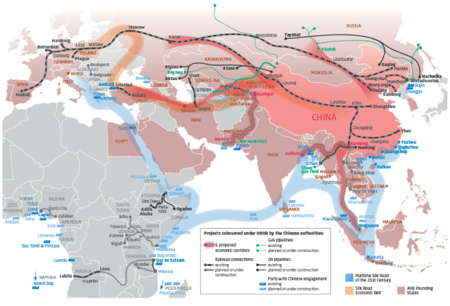 One Belt One Road Map - From London to Bejing and beyond.
