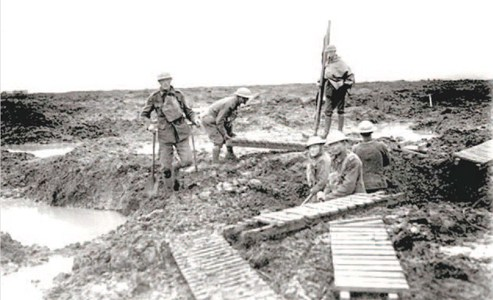 British Tommies laying out Duckboards in the Ypres salient.