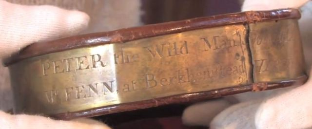 The inscription on the collar of Peter The Wild Boy, lest he wandered off.