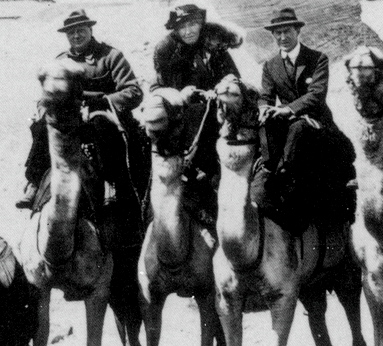 Sir Winston Churchill, Gertrude Bell and Lawrence of Arabia at Giza, Egypt in 1921.