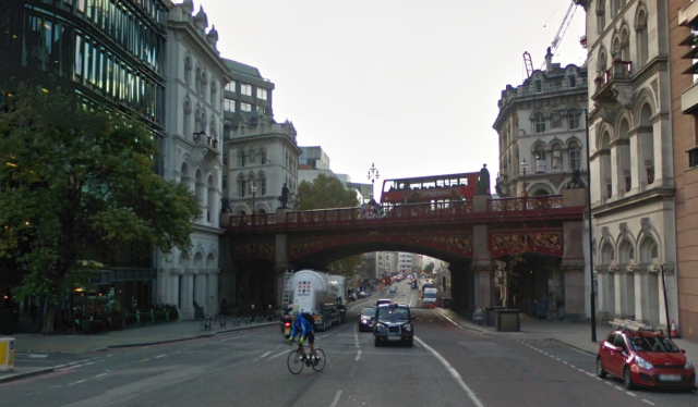 Holborn Viaduct. The River Fleet used to run where Farringdon Street now is.