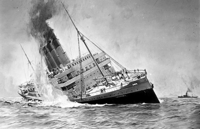 The sinking of the RMS Lusitania.