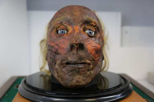 The preserved head of Jeremy Bentham, his head damaged in the preservation process which was understandably rather untested. Obviously his eyes aren't real and his wonderful brain was removed prior to the preservation.