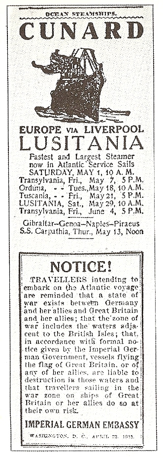 The published notice by the Imperial German Embassy.