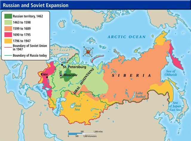Map of Russian Expansion from a small territory to a huge one and incidentally belaying the lie that Crimea is a fundamental part of Russia. The world would be very different if everyone went by that path of logic.