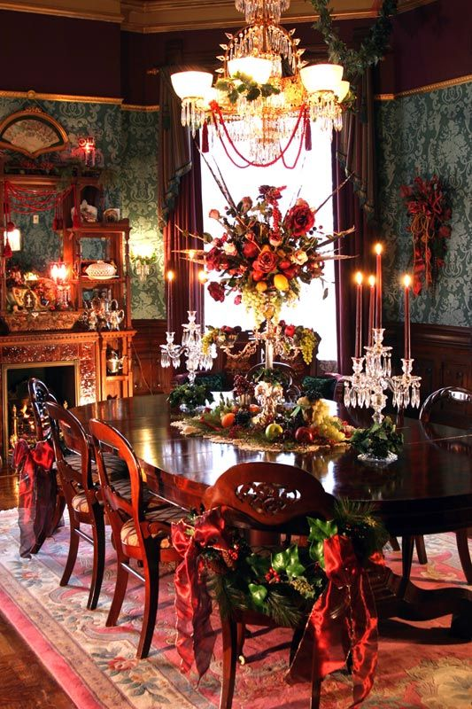 Beautiful traditional Christmas table dressing