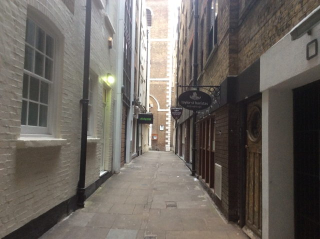 Botolph Alley, near the home of the famous Dick Whittington... and his cat?
