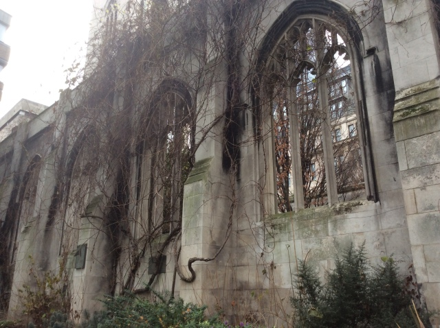 The bombed out remains of St Dunstan In The East