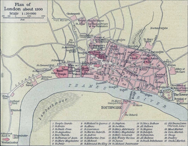 London Street Map in 1300 AD