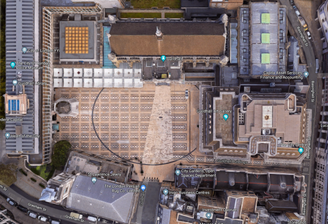 The outline of the London Coliseum in the Guildhall Yard from above