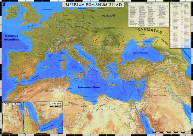 Map of the maximum extent of the Roman Empire.