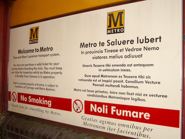 Wallsend Metro station, part of the Tyne & Wear Metro. The only public station with signage in Latin.