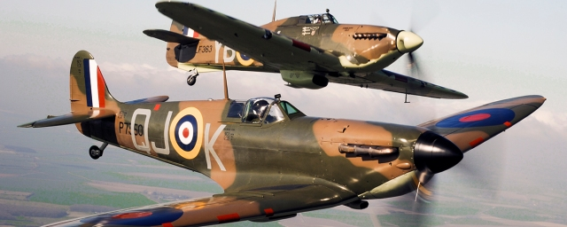 Spitfire P7350, flies alongside Hurricane LF363.