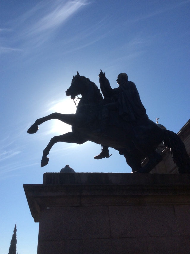 Not my favourite statue in particular but I think the Duke of Wellington would like the dramatic silhouette of his memorial.