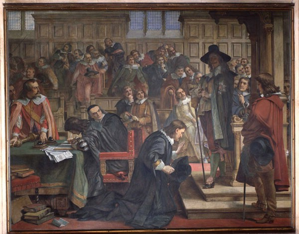 This painting shows King Charles I standing by the chair of the Speaker of the House.  William Lentall gives him due honour whilst simulataenously defying the King.