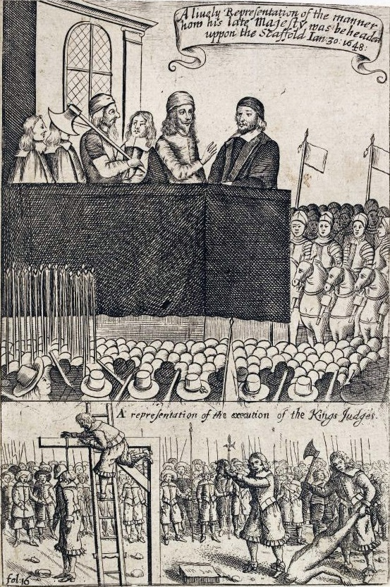 Contemporary print of the execution of King Charles and latterly The Regicides.