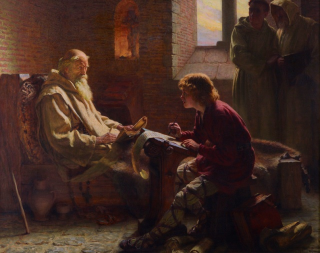 The Venerable Bede translating the Gospel of John on his deathbed. Painting by James Doyle Penrose in 1902.