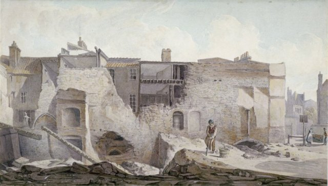 View of the ruins of part of the Priory of Holy Trinity, Aldgate, City of London, 1824.