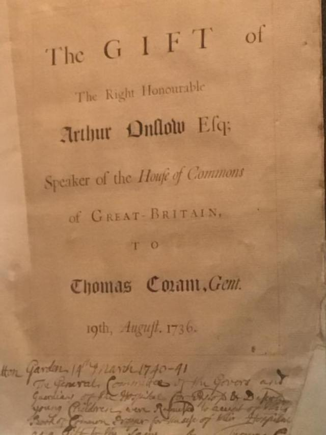 This prayer book was given to Thomas Coram by the Speaker of the House of Commons, Arthur Onslow Esquire.