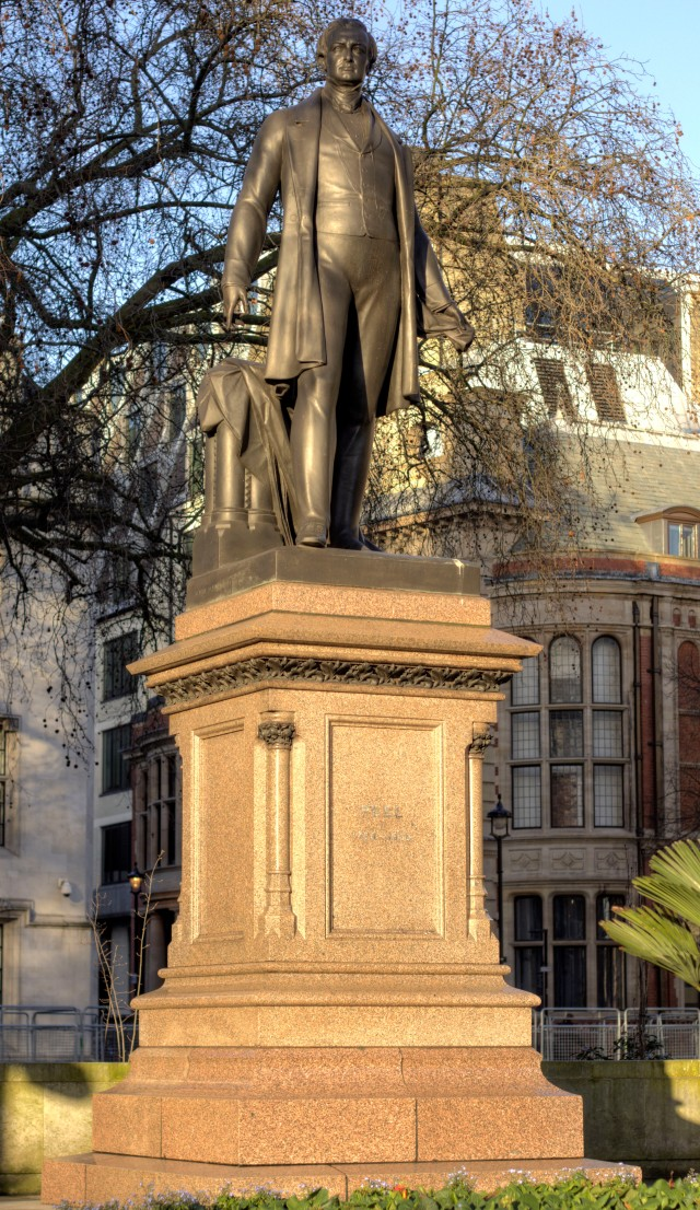 This statue of Sir Robert Peel is in Parliament Square, opposite Parliament and home of many a demonstration.