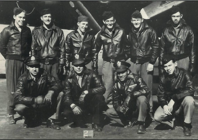 "The crew of B-17 Flying Fortress nicknamed ""Mi Amigo"" of the 305th Bomb Group. Back Row: Robert Mayfield, Vito Ambrosio, Harry Estabrooks, George Williams, Charles Tuttle, Maurice Robbins. Front Row: John Kriegshauser, Lyle Curtis, Melchor Hernandez, John Humphrey Picture: AMERICAN WAR MUSEUM"