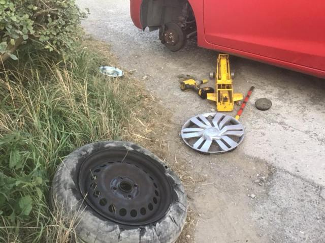 A totally ruptured tyre