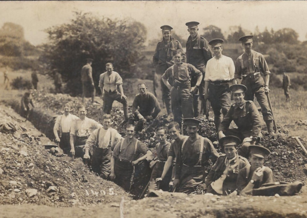 The Inns of Courts Officers' Training Corps digging the trenches over 100 years ago