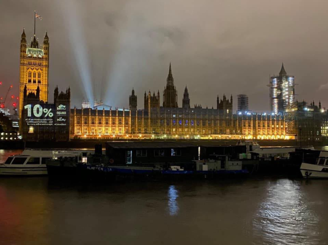 ExcludedUK beamed onto Parliament Photo by Aron  Padley