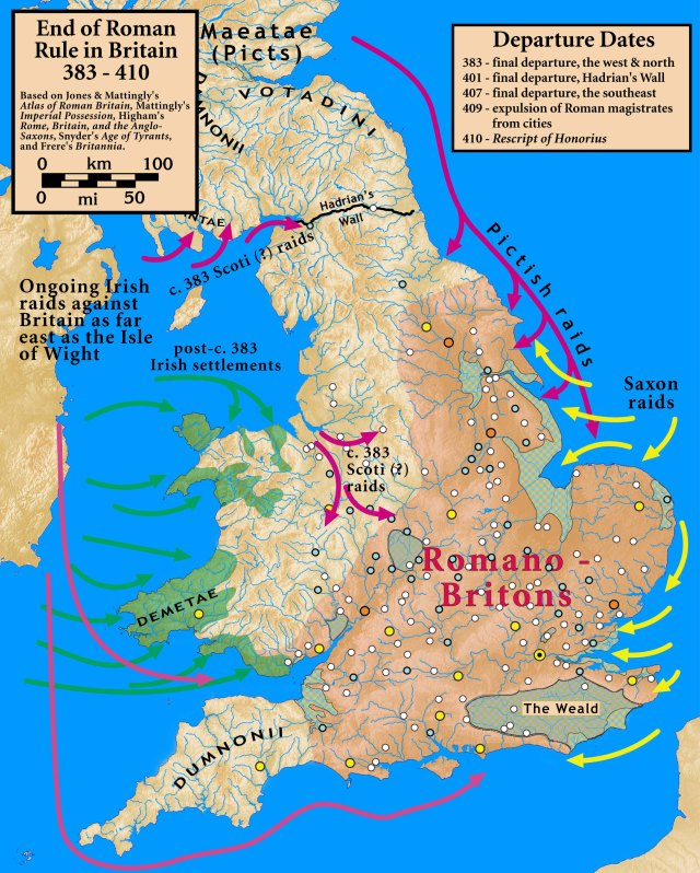 The End of Romano Britain. Map from Wikipedia