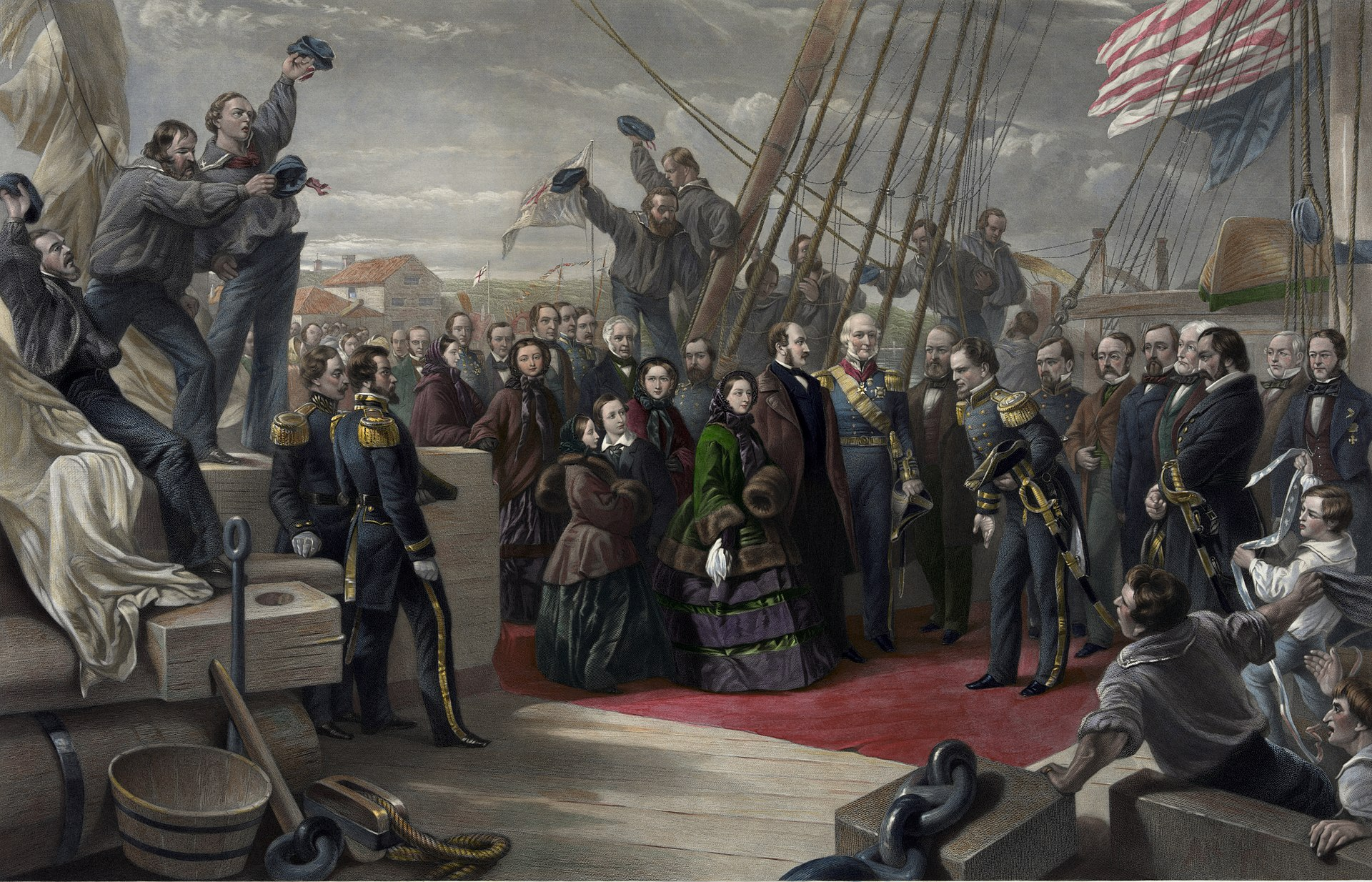 A painting of Queen Victoria visiting HMS Resolute on its return from North America.