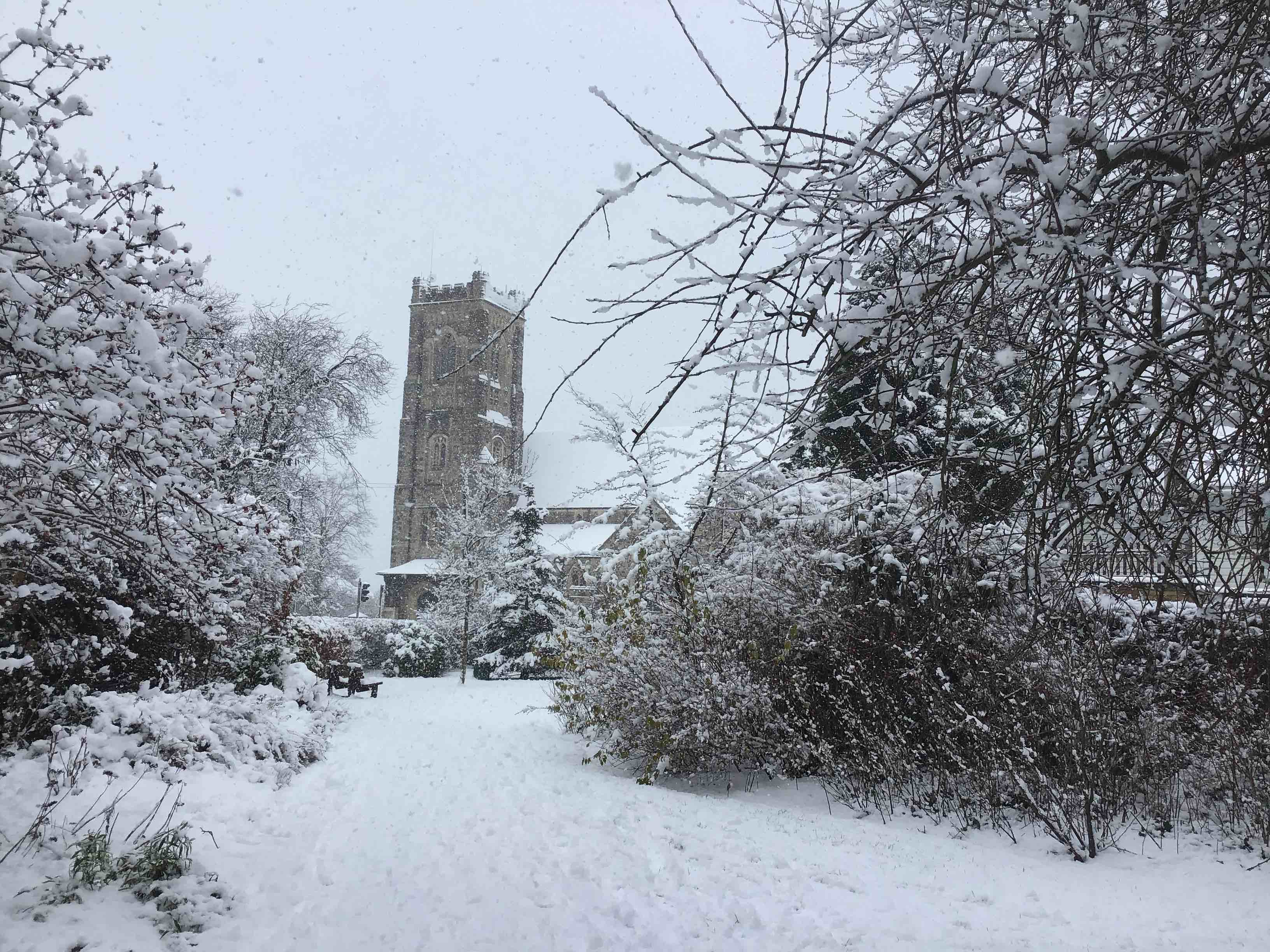 St Peters Church Bushey Heath in Snow
