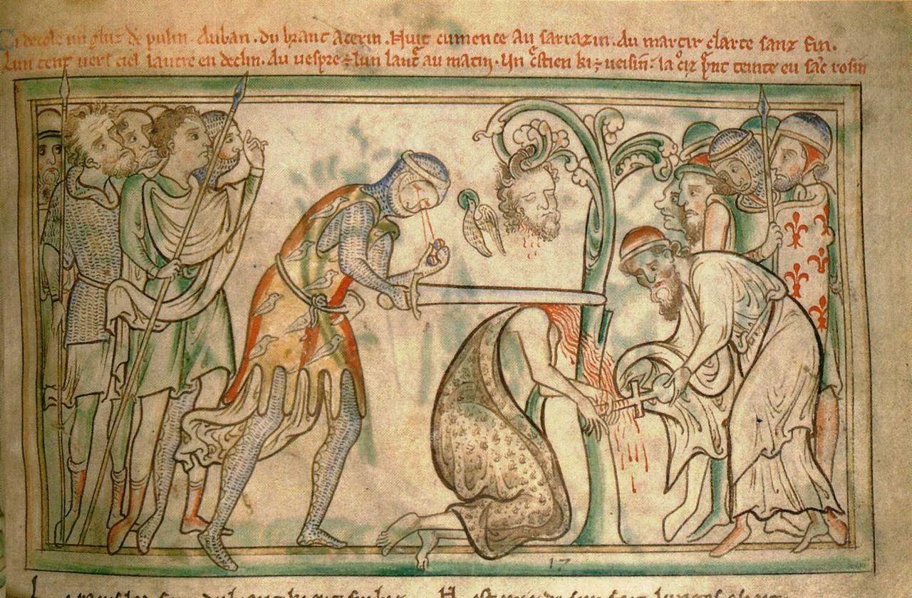 An old drawing of St Albans being executed. Note how the executioner has lost his eyes!